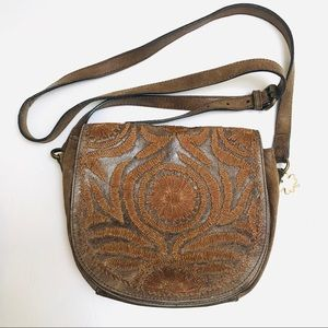 Lucky rustic embroidered leather crossbody